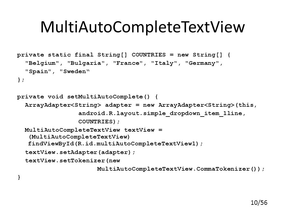 MultiAutoCompleteTextView