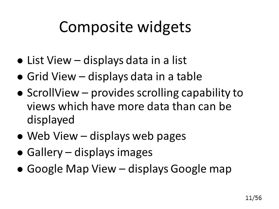 Composite widgets List View – displays data in a list