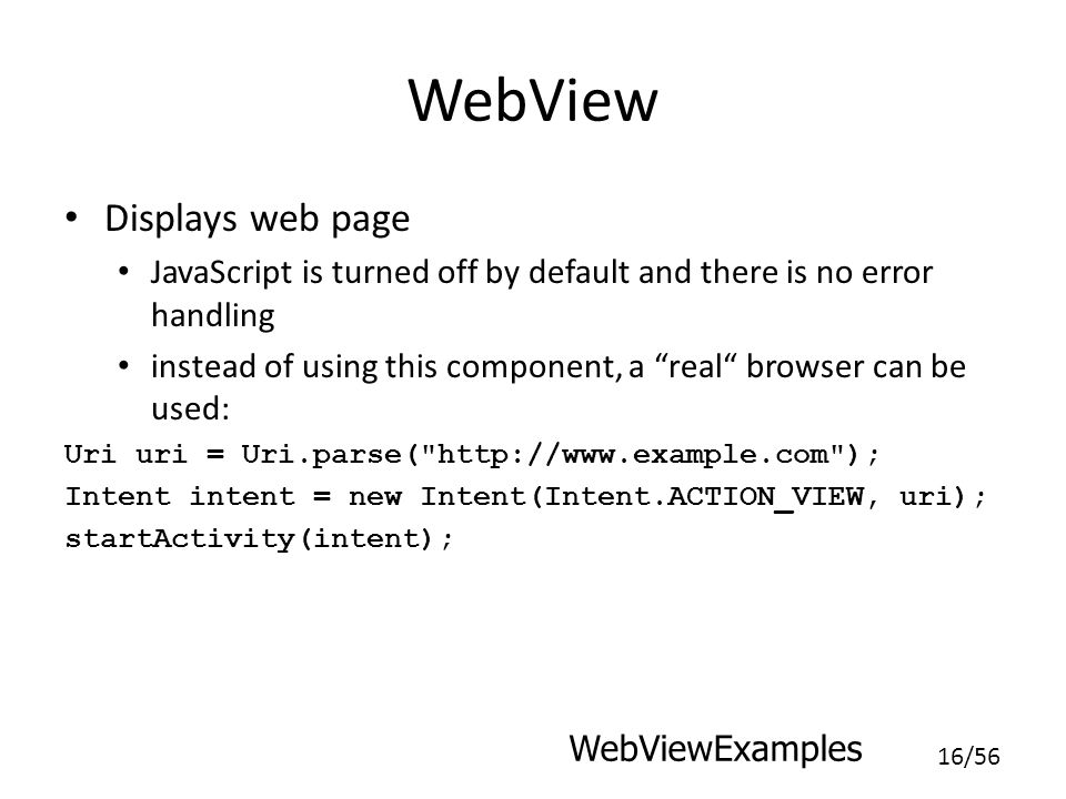 WebView Displays web page
