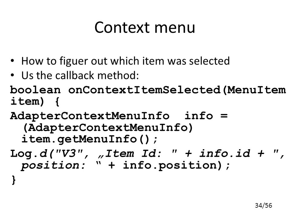 Context menu How to figuer out which item was selected