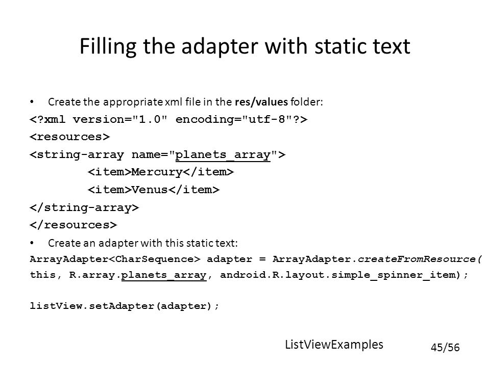Filling the adapter with static text