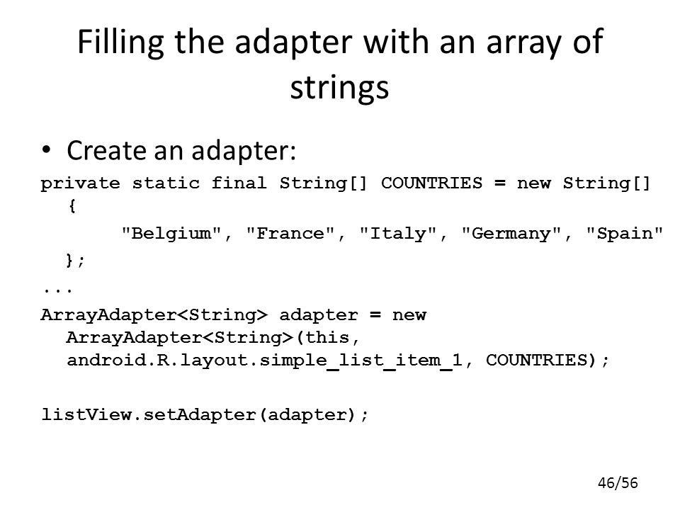 Filling the adapter with an array of strings