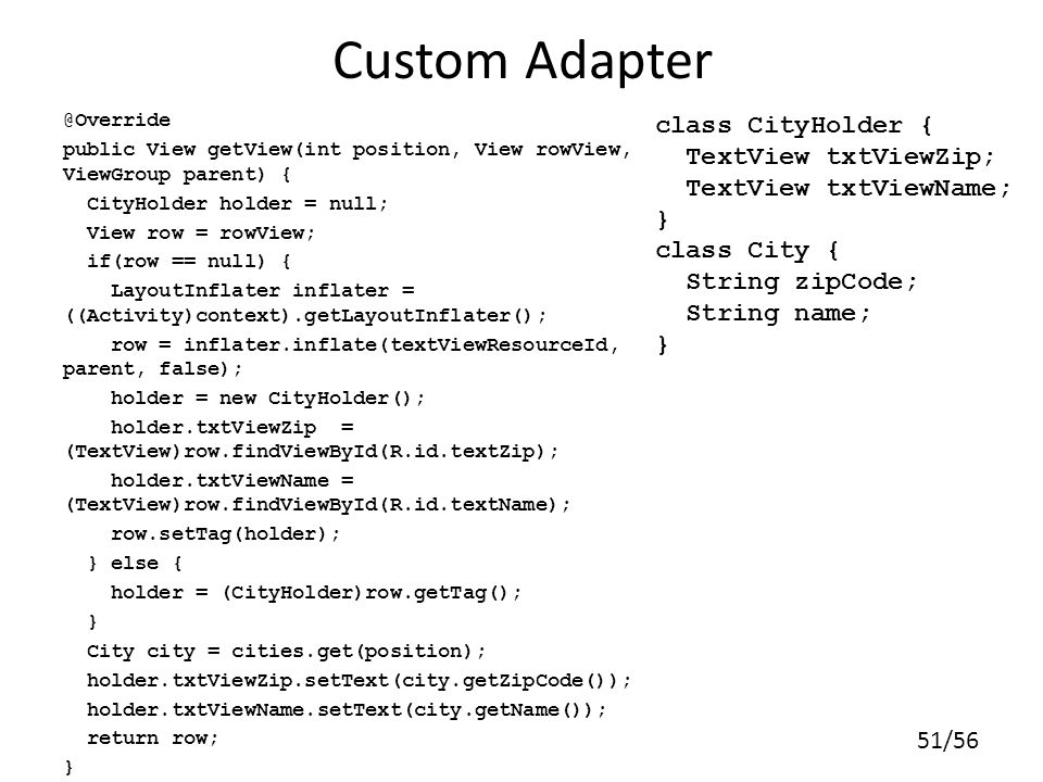 Custom Adapter class CityHolder { TextView txtViewZip;