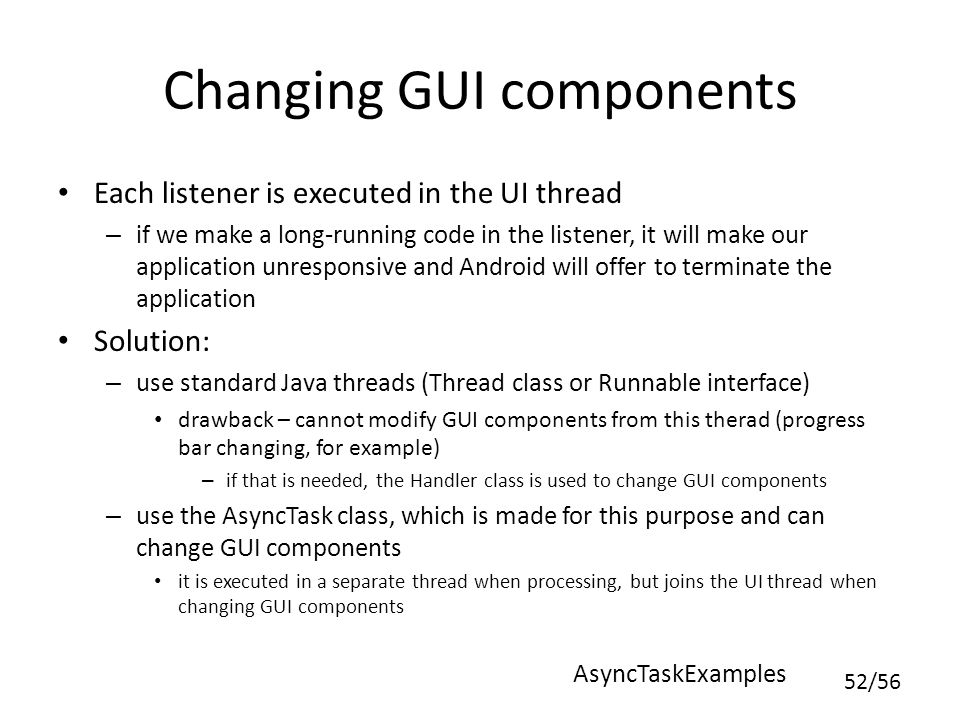 Changing GUI components
