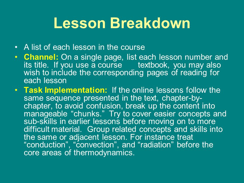 Lesson Breakdown A list of each lesson in the course