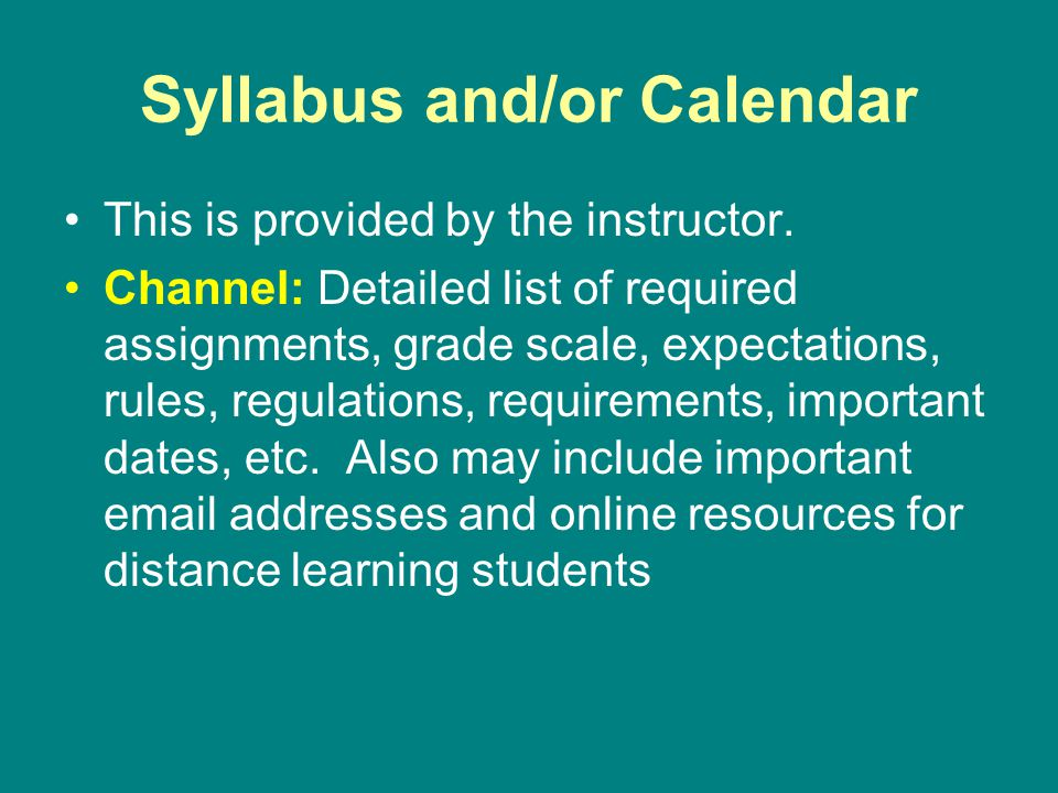 Syllabus and/or Calendar