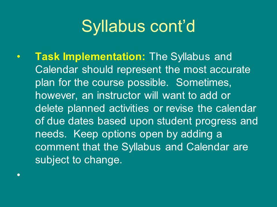 Syllabus cont'd