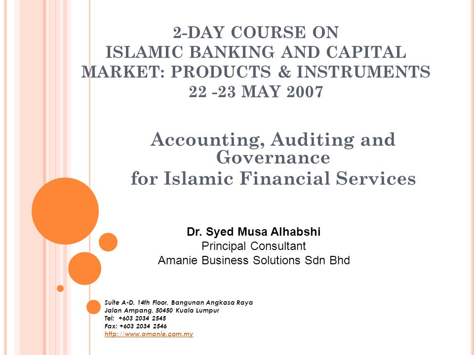Accounting, Auditing and Governance for Islamic Financial Services