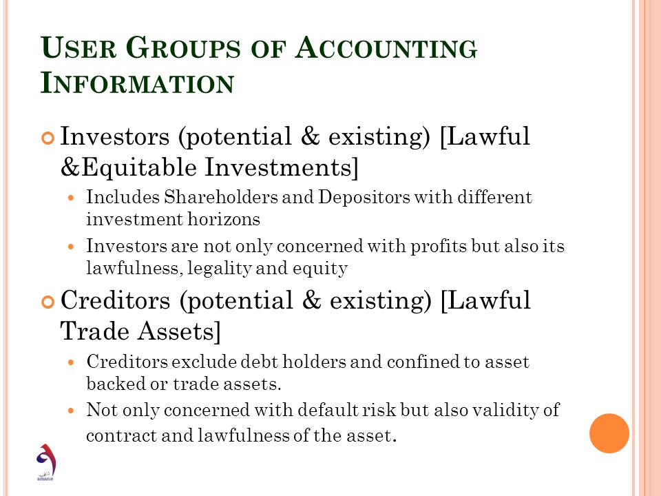 User Groups of Accounting Information