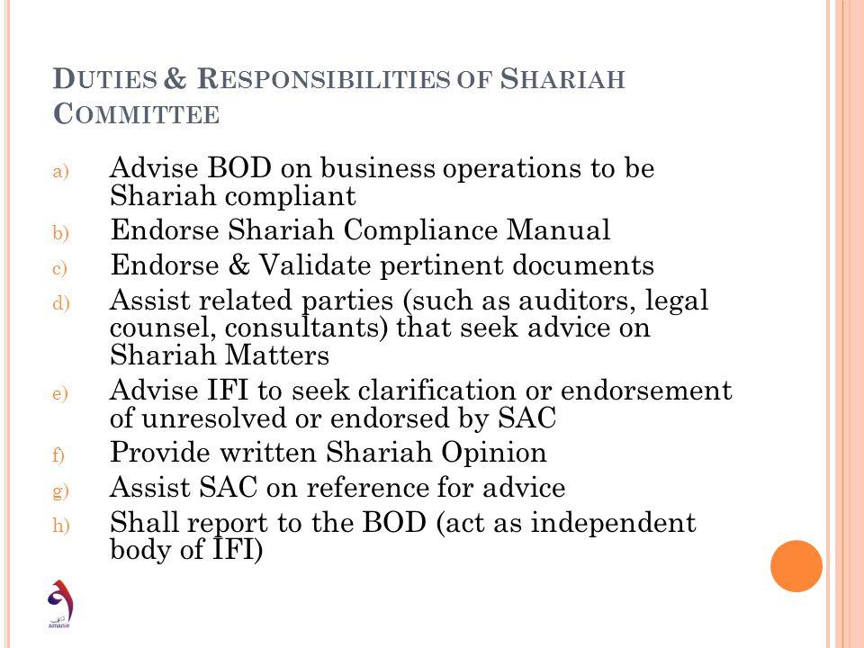 Duties & Responsibilities of Shariah Committee