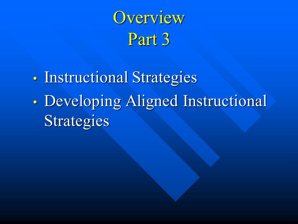 Overview Part 3 Instructional Strategies