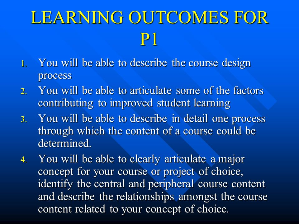 LEARNING OUTCOMES FOR P1