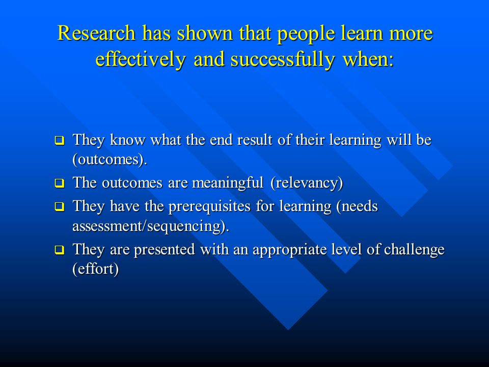 Research has shown that people learn more effectively and successfully when: