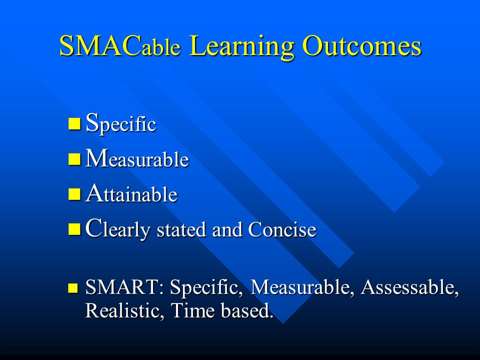 SMACable Learning Outcomes