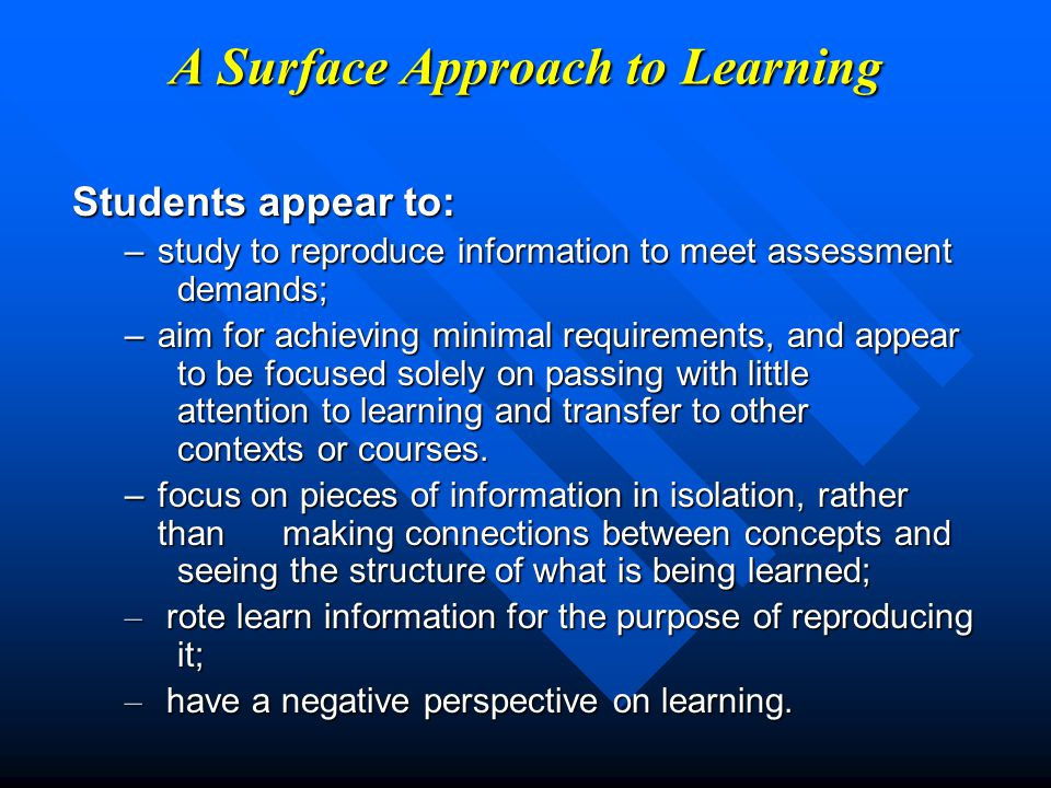 A Surface Approach to Learning