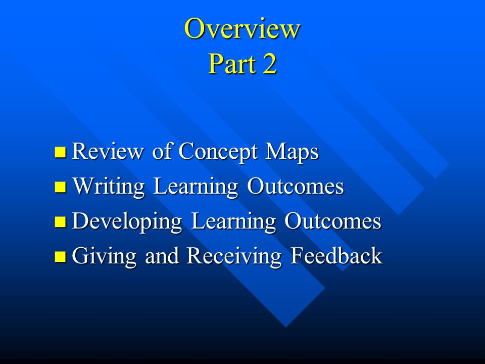 Overview Part 2 Review of Concept Maps Writing Learning Outcomes
