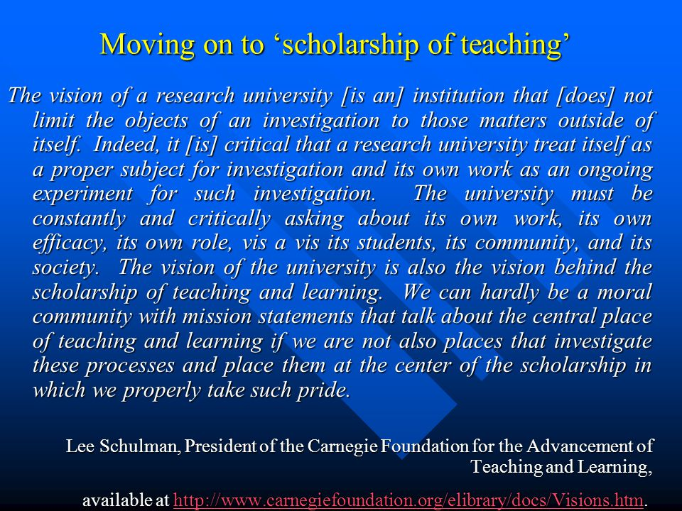 Moving on to 'scholarship of teaching'