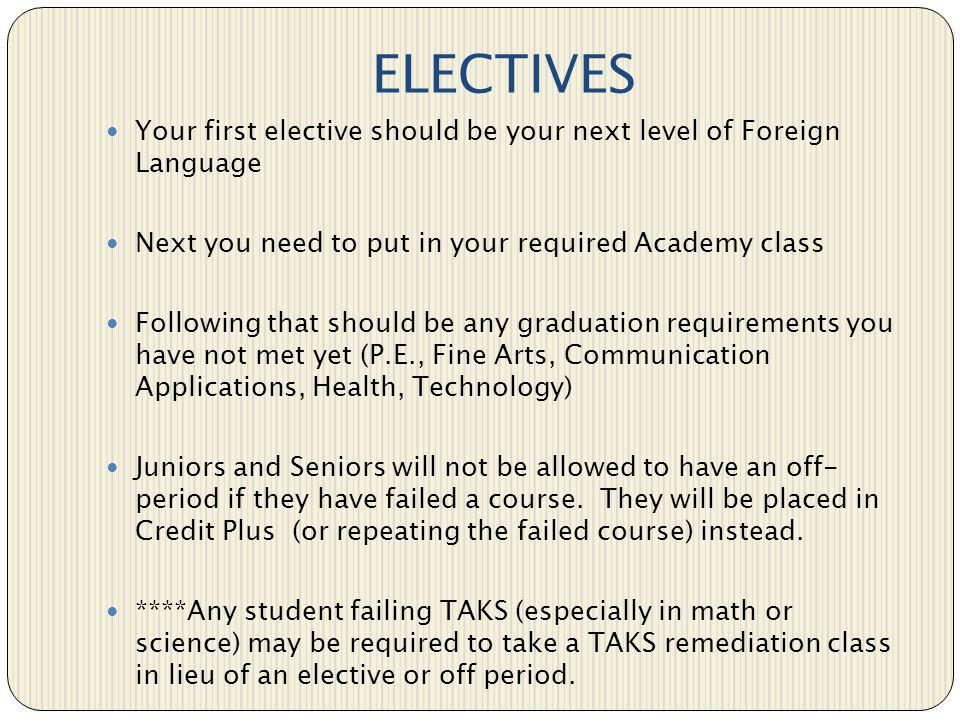 ELECTIVES Your first elective should be your next level of Foreign Language. Next you need to put in your required Academy class.