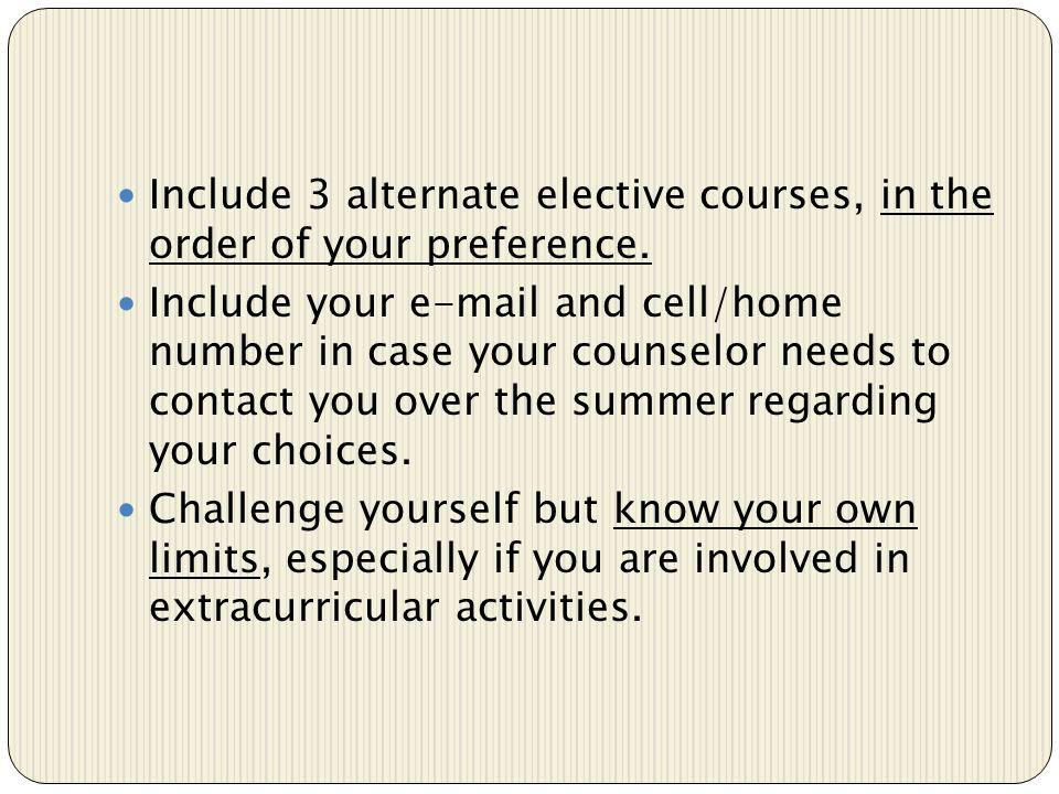 Include 3 alternate elective courses, in the order of your preference.