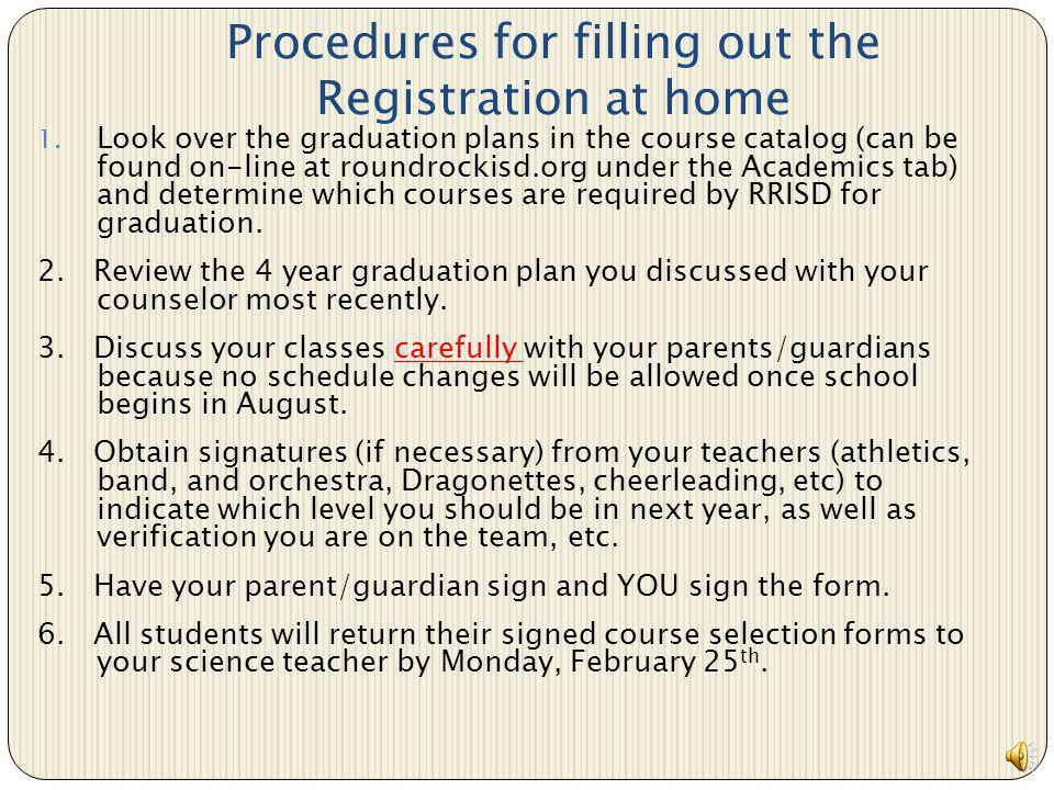 Procedures for filling out the Registration at home