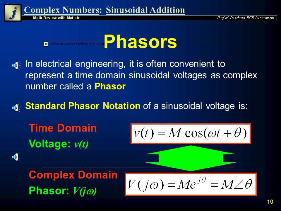 Phasors Time Domain Voltage: v(t) Complex Domain Phasor: V(jw)