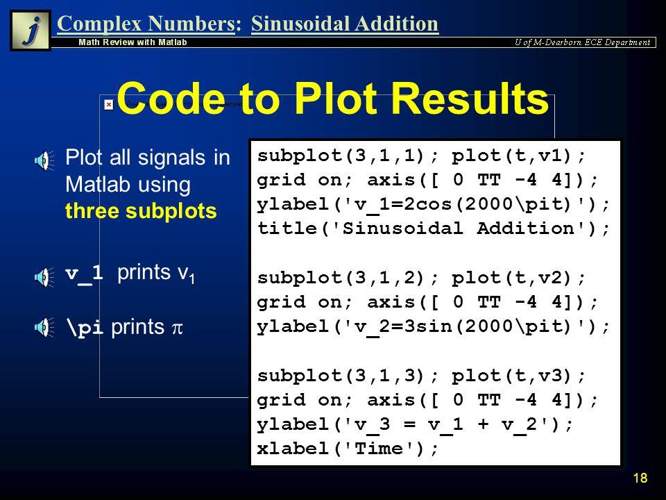 Code to Plot Results Plot all signals in Matlab using three subplots