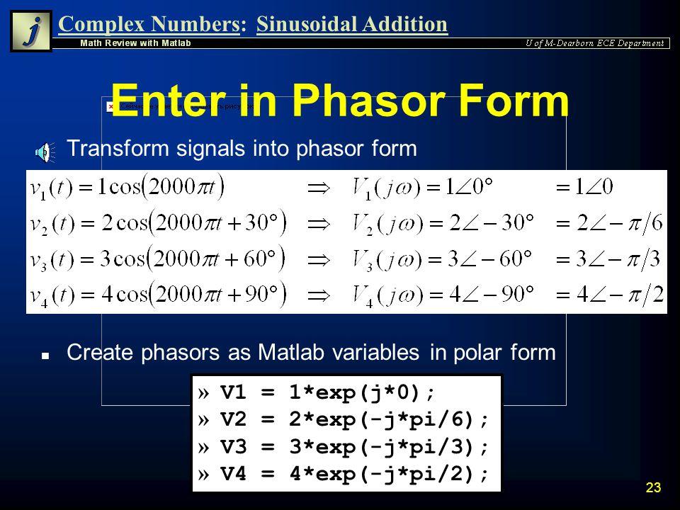 Enter in Phasor Form Transform signals into phasor form
