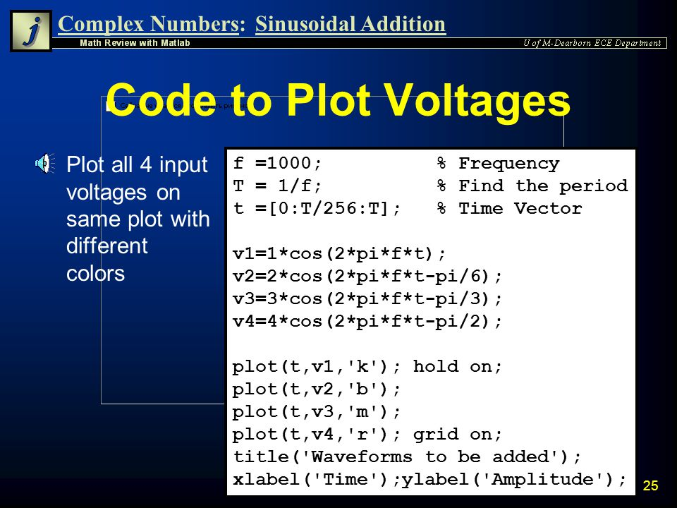Code to Plot Voltages Plot all 4 input voltages on same plot with different colors. f =1000; % Frequency.