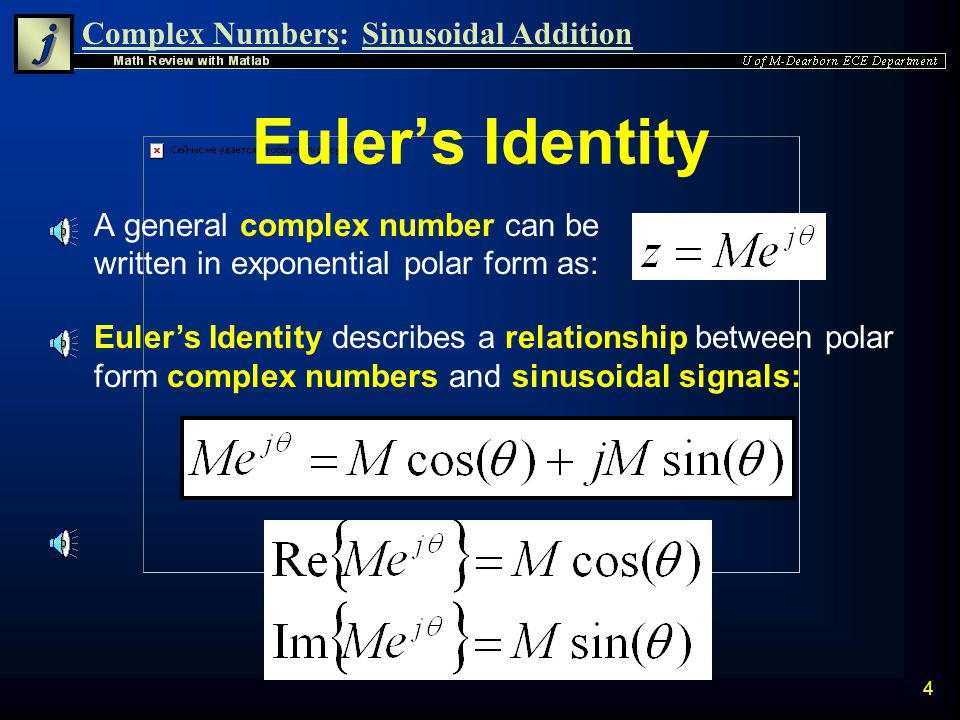 Euler's Identity A general complex number can be written in exponential polar form as:
