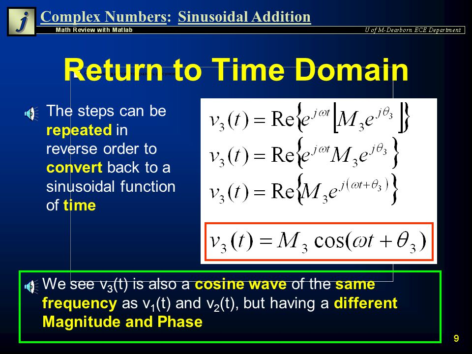 Return to Time Domain The steps can be repeated in reverse order to convert back to a sinusoidal function of time.