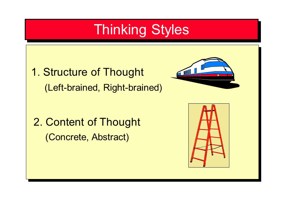 Thinking Styles 1. Structure of Thought 2. Content of Thought