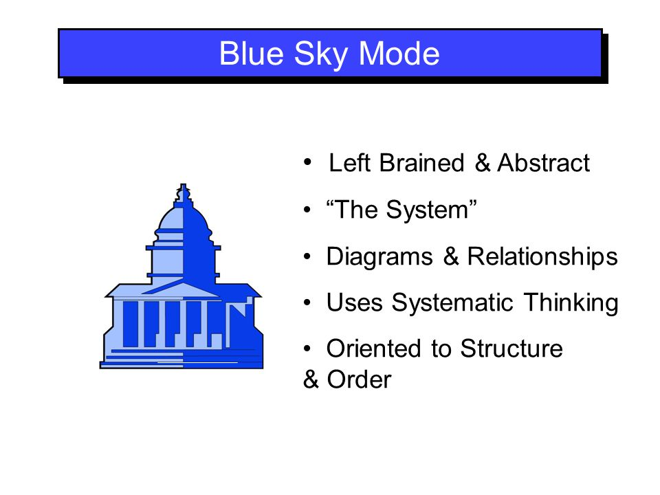 Blue Sky Mode Left Brained & Abstract The System