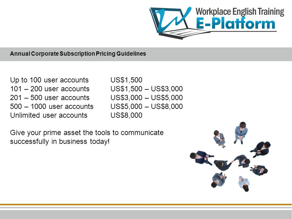 101 – 200 user accounts US$1,500 – US$3,000