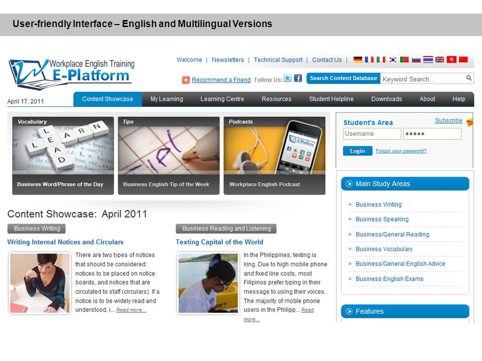 User-friendly Interface – English and Multilingual Versions