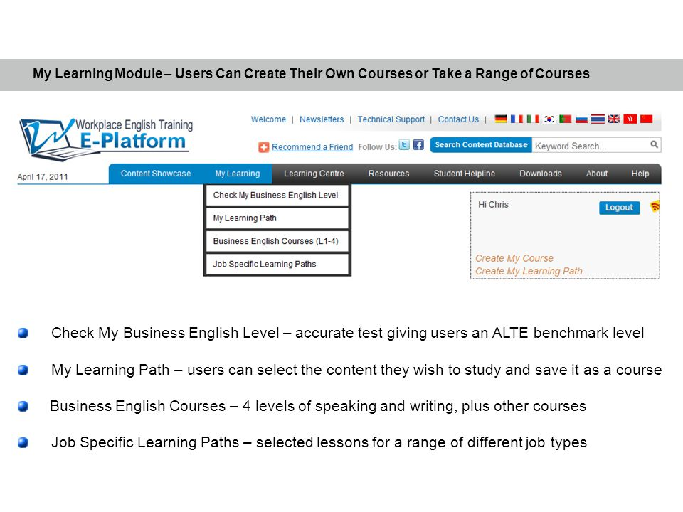 My Learning Module – Users Can Create Their Own Courses or Take a Range of Courses