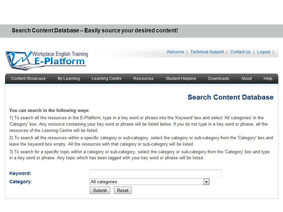 Search Content Database – Easily source your desired content!