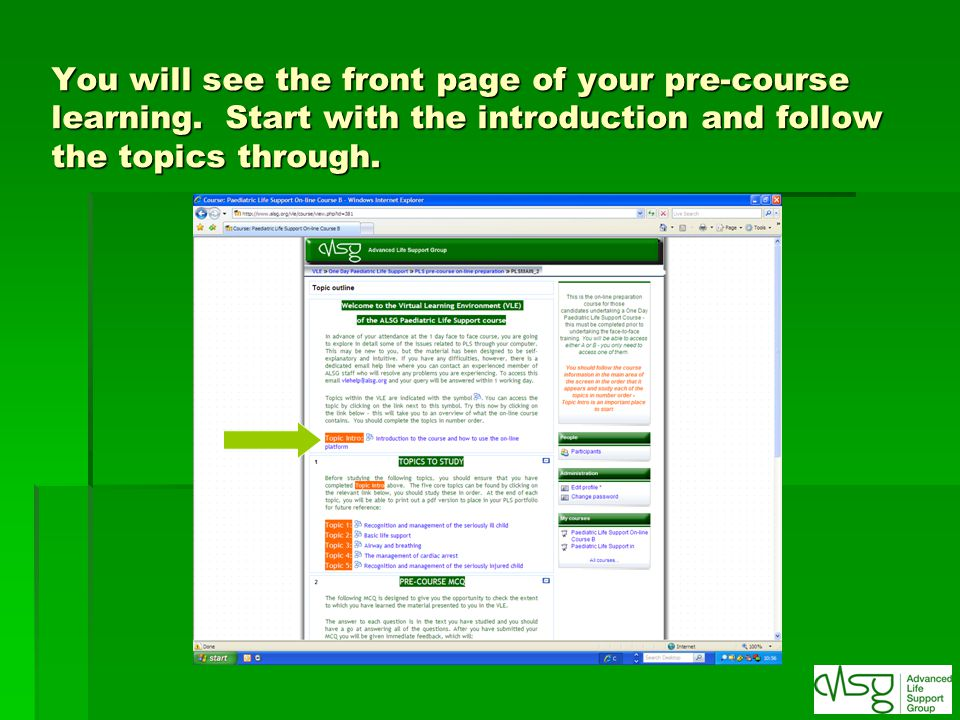 You will see the front page of your pre-course learning