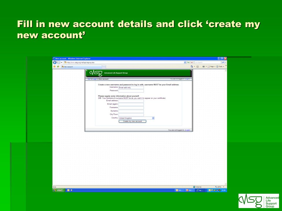 Fill in new account details and click 'create my new account'