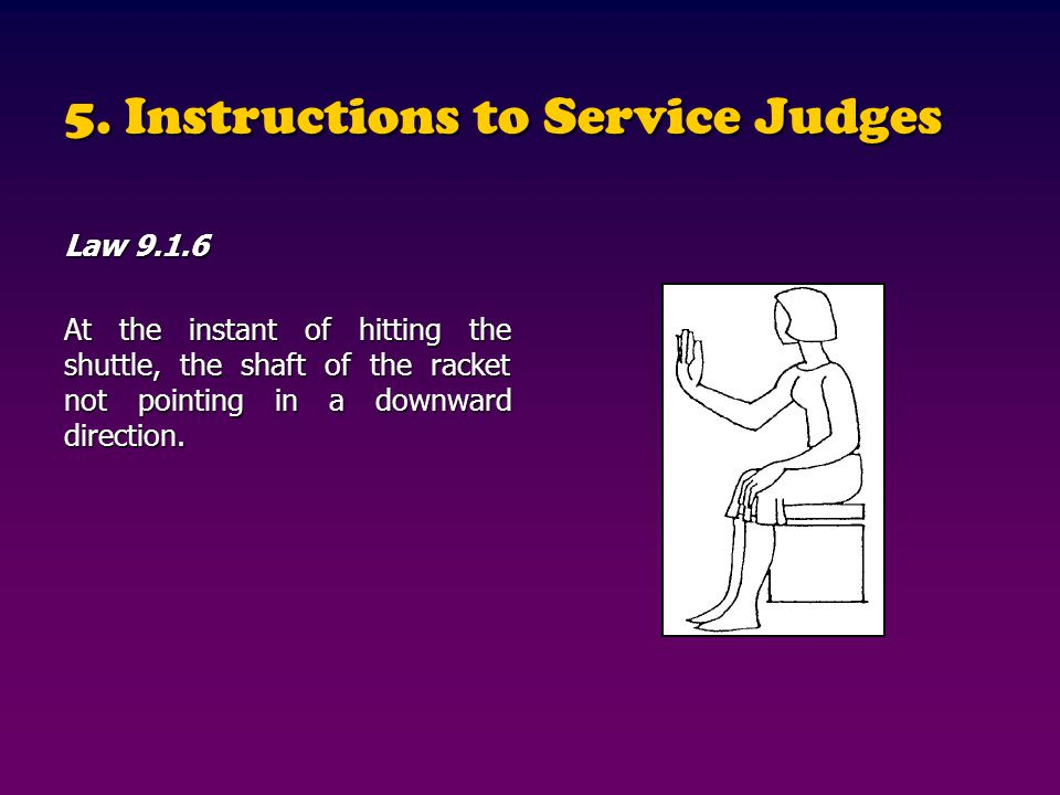 5. Instructions to Service Judges
