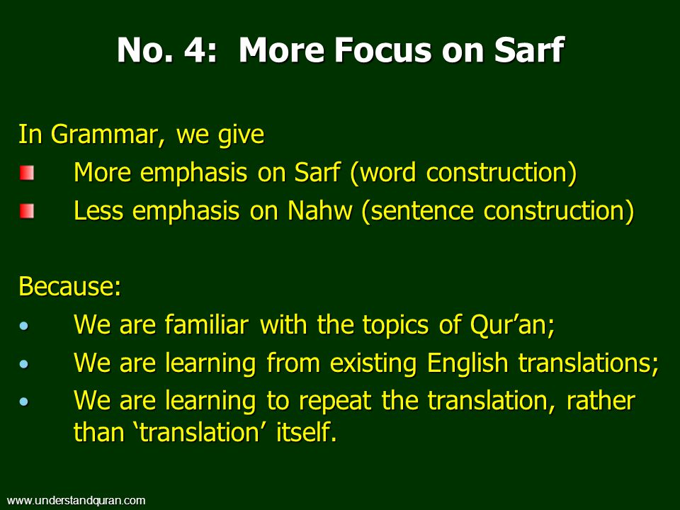 No. 4: More Focus on Sarf In Grammar, we give