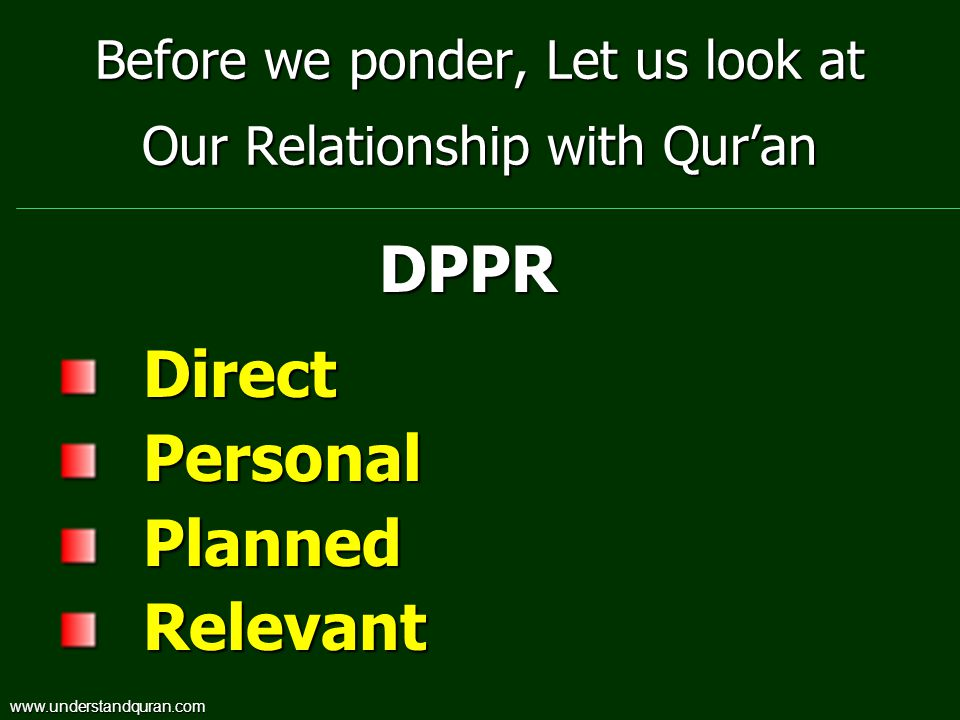 Before we ponder, Let us look at Our Relationship with Qur'an