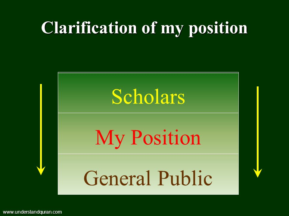 Clarification of my position