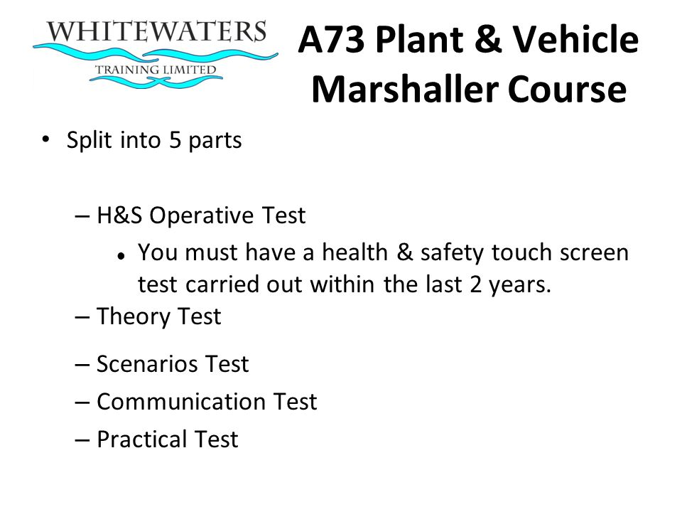 A73 Plant & Vehicle Marshaller Course