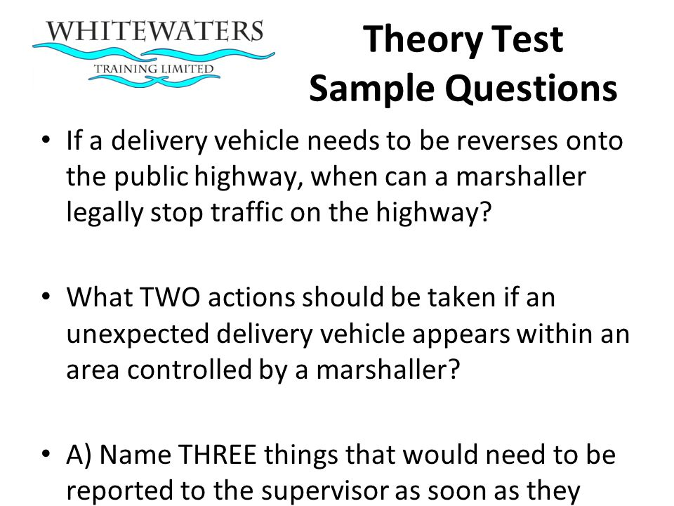 Theory Test Sample Questions