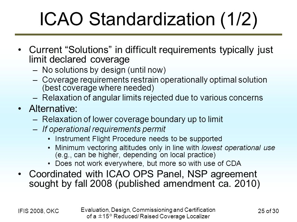 ICAO Standardization (1/2)