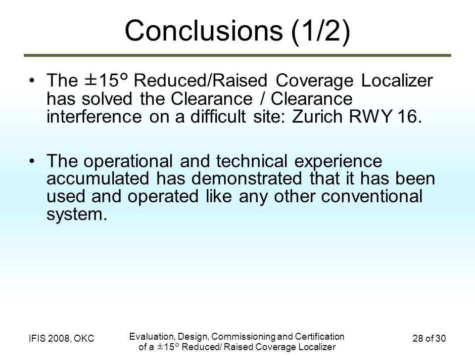 Conclusions (1/2) The ±15° Reduced/Raised Coverage Localizer has solved the Clearance / Clearance interference on a difficult site: Zurich RWY 16.