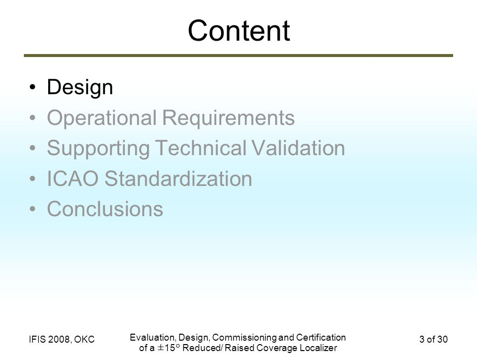 Content Design Operational Requirements
