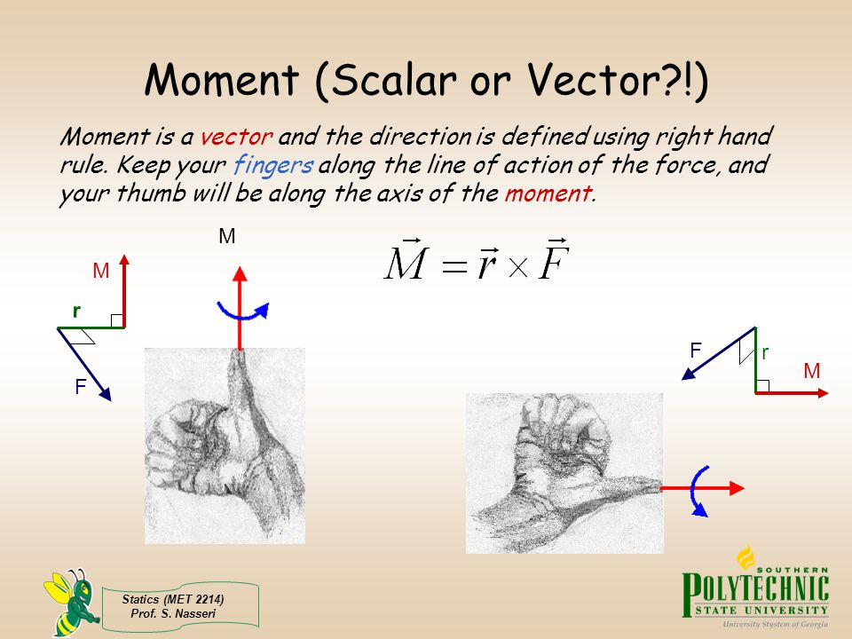 Moment (Scalar or Vector !)