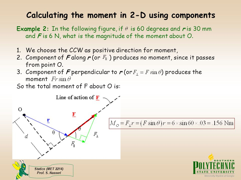 Calculating the moment in 2-D using components