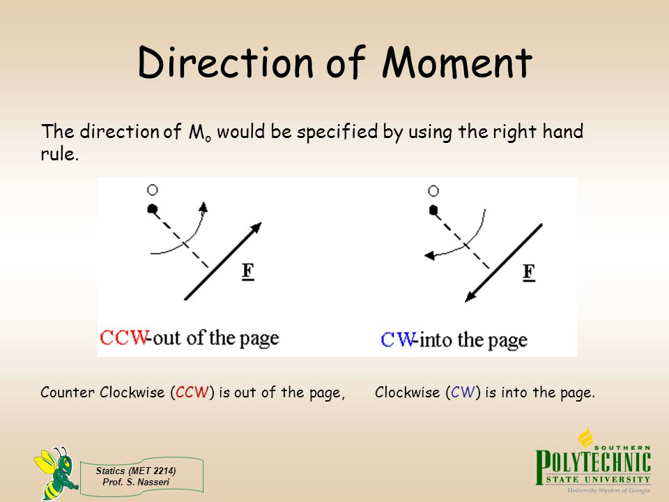 Direction of Moment The direction of Mo would be specified by using the right hand rule.